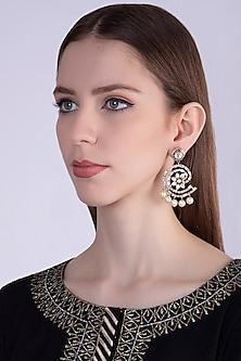 Gold Plated Kundan & Pearl Hoop Earrings by Nepra By Neha Goel