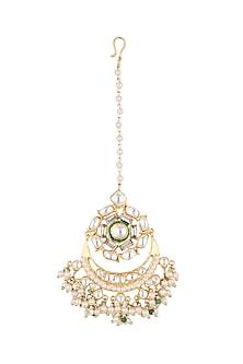 Gold Plated Kundan & Pearl Maang Tikka by Nepra By Neha Goel
