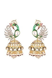 Gold Plated Peacock Jhumka Earrings by Nepra By Neha Goel