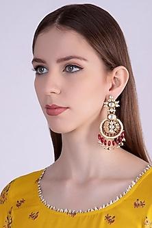 Gold Plated Red Enameled Chandbali Earrings by Nepra By Neha Goel