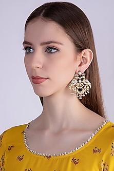 Gold Plated Enamel Bird Earrings by Nepra By Neha Goel