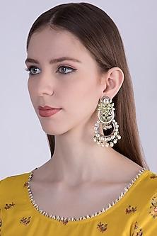 Gold Plated Polki & Emerald Chandbali Earrings by Nepra By Neha Goel