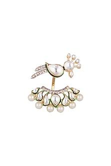 Gold Plated Enamel Bird Ring by Nepra By Neha Goel