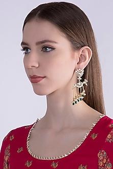 Gold Plated Pearl Bird Earrings by Nepra By Neha Goel