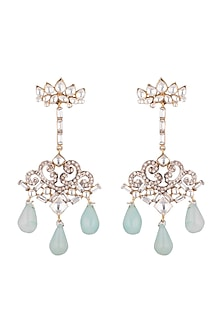 Gold Plated Earrings With Aqua Blue Drop Hangings by Nepra By Neha Goel