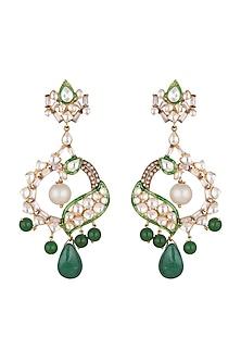 Gold Plated Kundan Chandbali Earrings by Nepra By Neha Goel