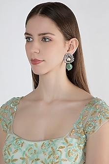 Antique Silver Finish Enameled Earrings by Nepra By Neha Goel