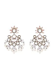 Antique Silver Finish Baguette & Pearl Earrings by Nepra By Neha Goel