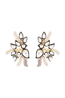 Gold Plated Enameled Pearl Earrings by Nepra By Neha Goel