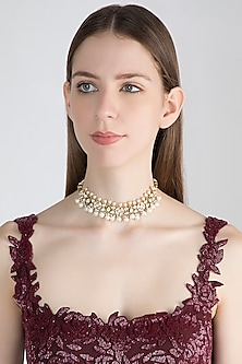 Gold Plated Emerald Enameled Choker Necklace by Nepra By Neha Goel
