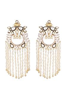 Gold Plated Peacock Enameled Earrings by Nepra By Neha Goel