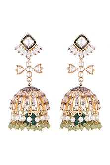 Gold Plated Kundan & Polki Jhumka Earrings by Nepra By Neha Goel