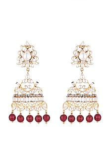 Gold Plated Kundan & Baguette Earrings by Nepra By Neha Goel