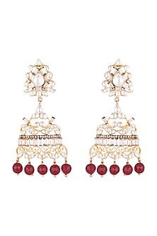 Gold Plated Kundan & Baguette Earrings by Nepra By Neha Goel