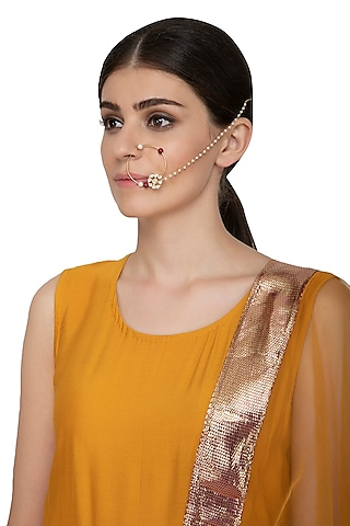 Gold Plated Kundan Nose Ring by Nepra By Neha Goel