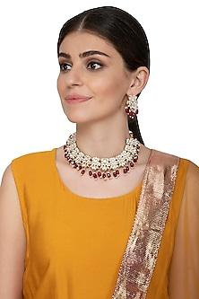 Gold Plated Kundan Choker Necklace Set by Nepra By Neha Goel