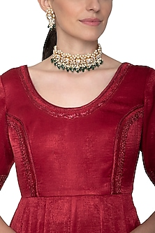 Gold Plated Emerald Choker Necklace Set by Nepra By Neha Goel