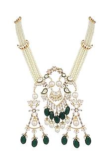 Gold Plated Kundan & Polki Necklace by Nepra By Neha Goel