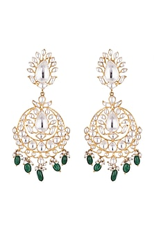 Gold Plated Kundan, Polki & Pearl Chandbali Earrings by Nepra By Neha Goel