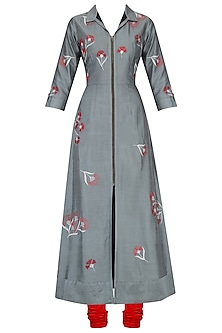 Grey Traced Carnation Motifs Shirt Dress by Nachiket Barve