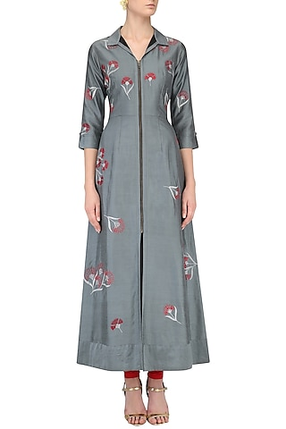 Grey Traced Carnation Motifs Shirt Dress by Nachiket Barve