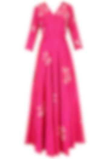 Pink Rose Bush Crushed Kalidaar Set with Tassel Scarf by Nachiket Barve