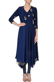 Cobalt Blue Beaded Carnation Kerchief Hem Kurta Set by Nachiket Barve