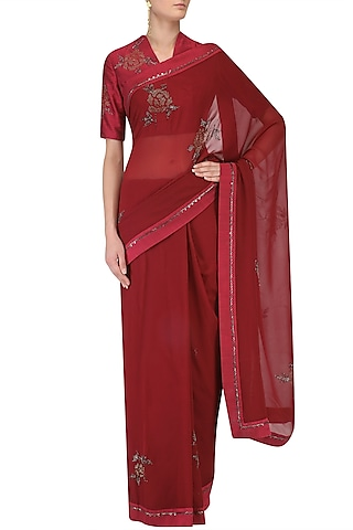 Plum Beaded Rose Bush Motifs Saree with Embroidered Blouse by Nachiket Barve