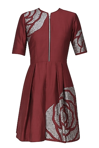 Maroon thread embroidered cutwork rose motif fit and flared dress by Nachiket Barve