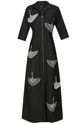Black thread embroidered crane motifs shirt dress by Nachiket Barve