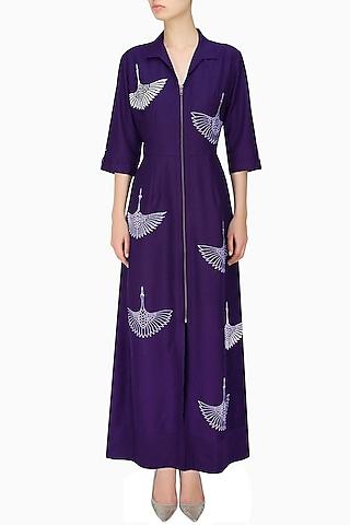 Indigo thread embroidered crane motifs shirt dress by Nachiket Barve