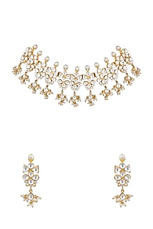 Gold Plated Polki Choker Necklace Set by Nepra By Neha Goel