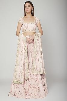 Blush Pink Floral Lehenga Set by Neha Chopra