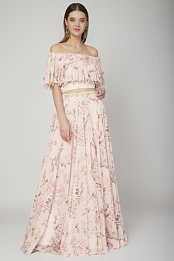 Blush Pink Printed Crop Top With Skirt & Dupatta by Neha Chopra