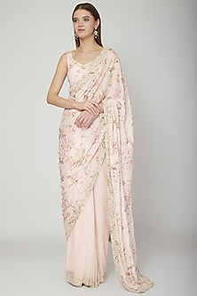 Blush Pink Floral Printed Pre-Stitched Saree Set by Neha Chopra