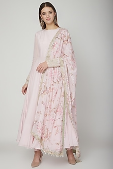 Blush Pink Embroidered & Floral Printed Anarkali Set by Neha Chopra