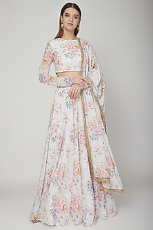 White Embroidered & Floral Printed Lehenga Set by Neha Chopra