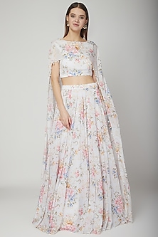 White Floral Cape Lehenga Set by Neha Chopra