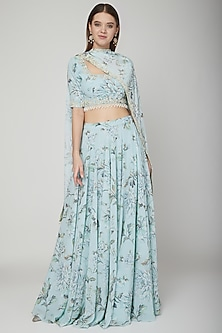 Sky Blue Floral Lehenga Set by Neha Chopra