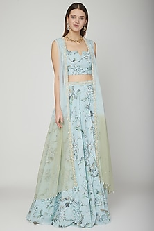 Pale Blue Floral Cape Lehenga Set With Belt by Neha Chopra