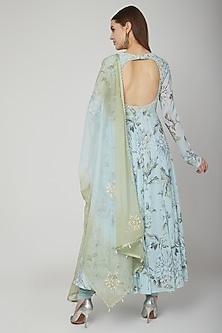 Pale Blue Floral Printed Anarkali Set by Neha Chopra