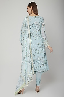 Pale Blue Embroidered Floral Anarkali Set by Neha Chopra