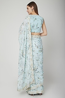 Blue Floral Printed Saree Set by Neha Chopra