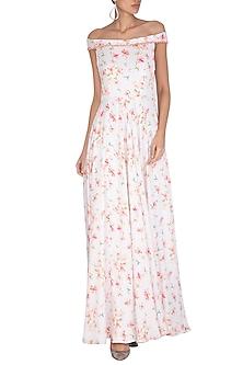 White Printed Off Shoulder Maxi Dress by Neha Chopra