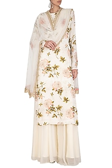 Cream Embroidered Printed Sharara Set by Neha Chopra