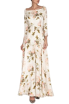 Cream Embroidered Printed Off Shoulder Jumpsuit by Neha Chopra