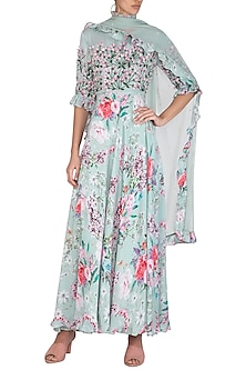 Blue Embroidered Printed Anarkali Kurta With Dupatta by Neha Chopra