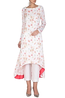 White Printed Tunic With Cigarette Pants by Neha Chopra