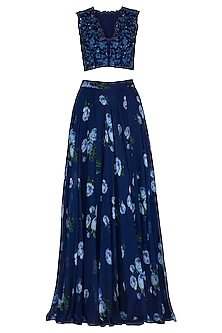 Dark Blue Embroidered Printed Lehenga Set by Neha Chopra