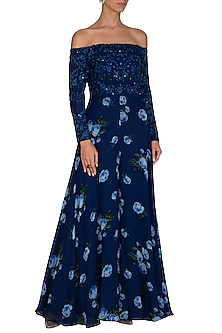 Dark Blue Embroidered Printed Off Shoulder Jumpsuit by Neha Chopra